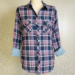 UO BLL Plaid Lined Blue Pink Plaid Button Down